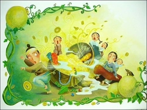 Another illustration of the moment when the gourd was opened. The jewels and coins are coming out from it.