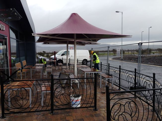 Costa Coffee Drive Thru in Port Glasgow has been fitted with our Poseidon Tensile Umbrella & Costa Bean Balustrades