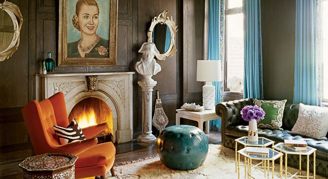 green couch, poof, small grouped tablesPirates Ships, Living Rooms, Elle Decor, Colors, Livingroom, Interiors Design, Nanette Lepore, Ships Chandeliers, Jonathan Adler