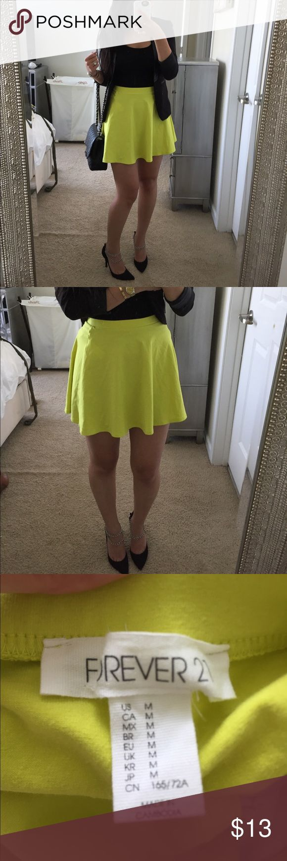 NEON Yellow flare skirt. Condition: Very Good. Damages: None. Detail: Add some color to your wardrobe. Size: Fits true to size. Note:  **Make a reasonable offer!! Bundle 3+ items to save $$!** Thank you for stopping by! =) gabagaba88 Forever 21 Skirts Circle & Skater