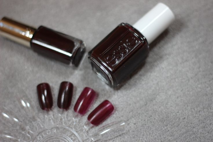 Nail dupe! Essie Wicked and L'Oreal Hypnotic Red - two coats (left) and one coat (right)