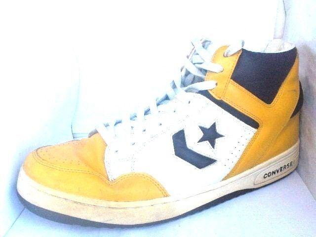 ... Rare vintage converse weapons mens yellowpurple leather hightop  sneakers ... 5a48a4cb9