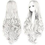 Rbenxia Curly Cosplay Wig Long Hair Heat Resistant Spiral Costume Wigs Anime Fashion Wavy Curly Cosplay Daily Party Silver 32 80cm