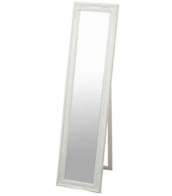 Grand miroir sur pied en bois blanc avec moulures miroir - Miroir sur pied blanc ...