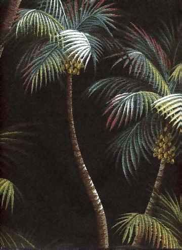 Waikiki which means spouting water is a palm tree pattern available in an upholstery fabric. The background colors are natural, black and aloe. The fabric used to be on a bark crepe ( a flatter weave) but recently was changed to a classic nubby bark cloth.  More fabrics at: BarkclothHawaii.com