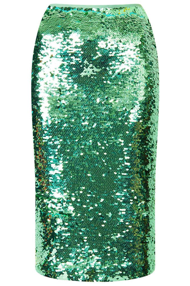 NEW Topshop Mint Green Sequin Pencil Skirt SOLD OUT RRP £65 6 8 10 12 14 16