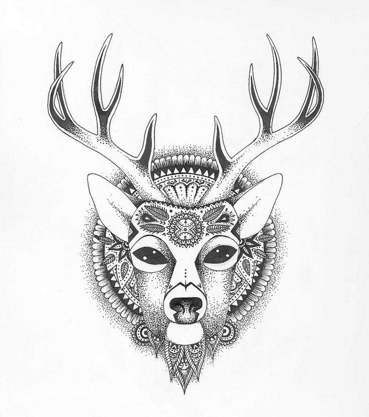 Love This Deer Drawing Mandalas And Doodles Tumblr