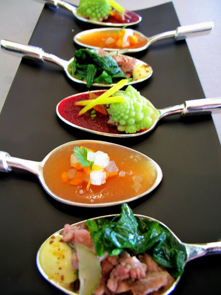 Appetizers on a spoon!  Amuse-bouche (Michel Bras)
