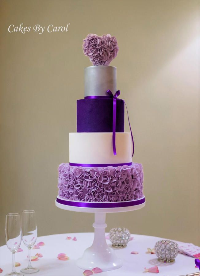 Purple Ruffle Wedding Cake by Carol - http://cakesdecor.com/cakes/268912-purple-ruffle-wedding-cake