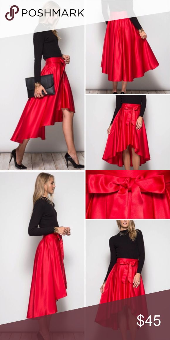 COMING SOON Elegant Red High Low Bow Tie Skirt Beyond gorgeous red high low skirt!! Sizes S M L. Shipping 9/27 Skirts High Low