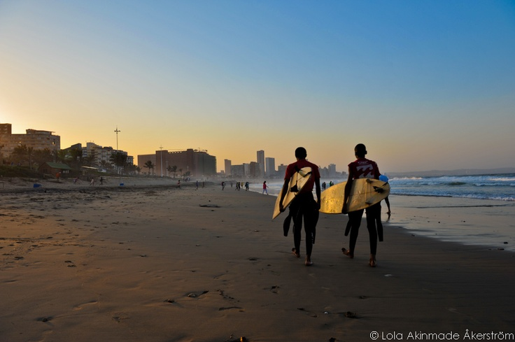 Durban beach, home to many surfers!