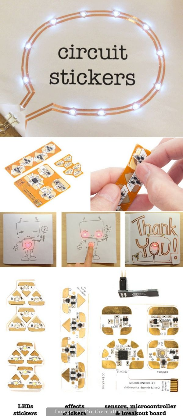 Circuit Stickers - Circuit stickers are peel-and-stick electronics for crafting circuits. Use them to add electronics to any sticker-friendly surface: paper, fabric, plastic.