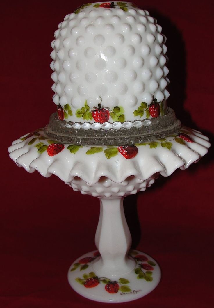 Fenton Footed Fairy Lamp Hand Painted by Louise Piper - Strawberries - For sale on Ruby Lane...[looks like a fancy hat]