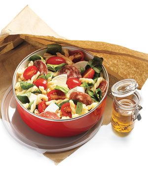 Pasta Salad with Salami and Mozzarella - Toss together this salad the night before; your kids will love the combination of fresh tomatoes, cheese, and sliced salami for lunch the next day. For more creative ideas for kids lunches visit https://www.facebook.com/SchoolLunchIdeas you may find something you 'LIKE'