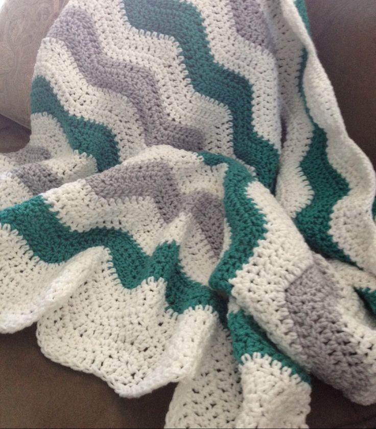 Crochet baby blanket, jade and gray and white baby chevon blanket, mint ripple baby blanket, grey white jade shower gift, baby gift by CarrowayCrochet on Etsy https://www.etsy.com/ca/listing/240868388/crochet-baby-blanket-jade-and-gray-and