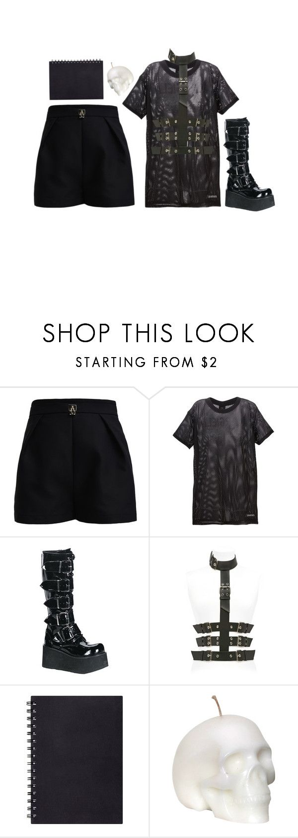 """""""Untitled #382"""" by goth-proxy ❤ liked on Polyvore featuring Elisabetta Franchi, LES (ART)ISTS, Giuseppe Zanotti, Dark and gothgoth"""