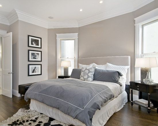 Dig this color (someone said Benjamin Moore Hampshire Taupe but not sure?) Master bedroom