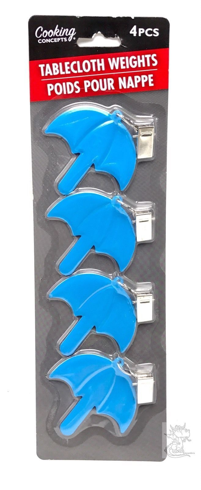 Blue Umbrella Metal Tablecloth Weights with Clips 4pc Set New