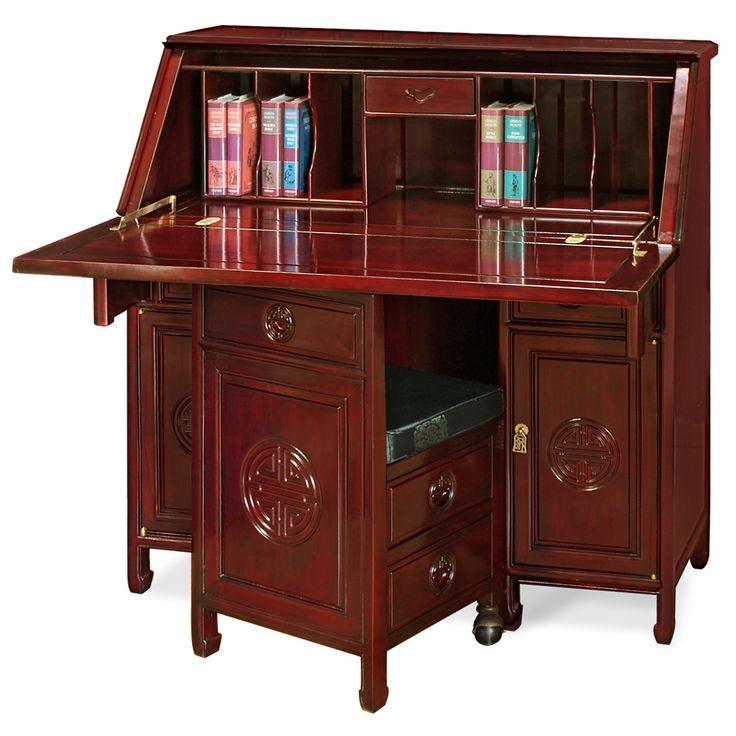 Rosewood Longevity Design Secretaire W/Stool · Asian FurnitureAsian Style Stools