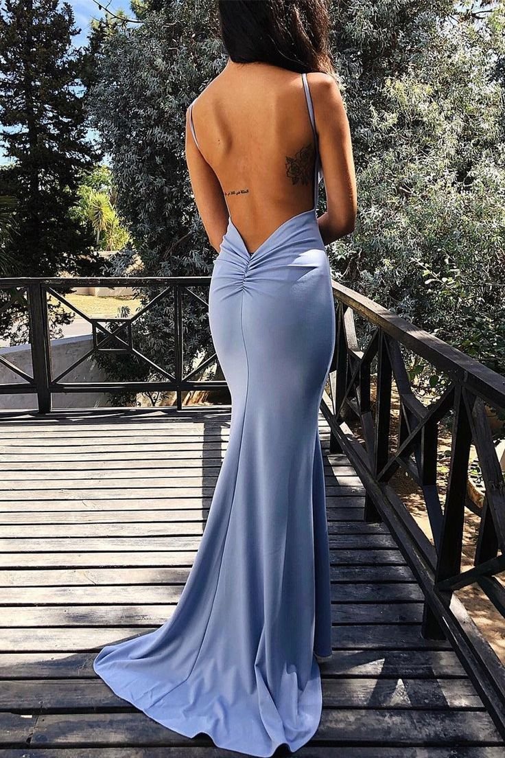 Mermaid Blue Evening Dress with Open Back in 9  Blaue