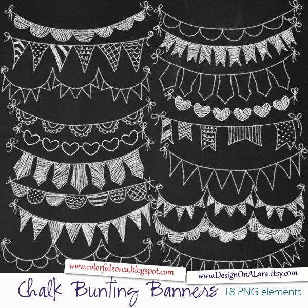 Chalk Bunting Banners Chalk Banners Clip Art Digital Banners Hand Drawn Banners Chalk ribbons Banner ribbon garland Chalkboard Bunting