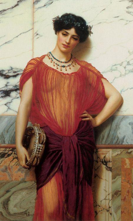 Drusilla: 1906 by John William Godward (Private Collection - Location Unknown) Pre-Raphaelite