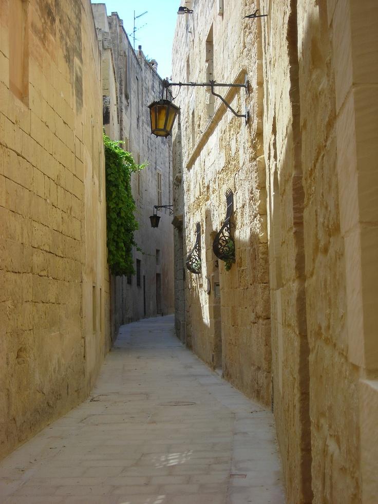 A neighborhood street within the Silent City, Cittadel Medina, Malta