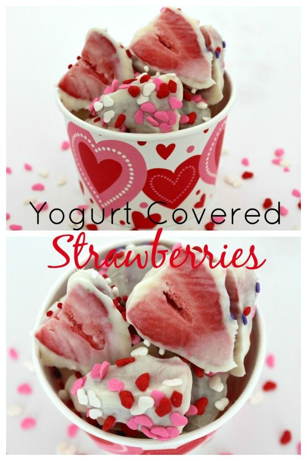 These frozen yogurt covered strawberries are a great snack for Valentine's Day or for a hot summer afternoon. All you need is vanilla Greek yogurt, some strawberries and sprinkles to make them festive.