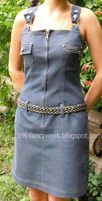 My Fancywork Blog: Джинсовое платье-сарафан с карманами, регулируемым...