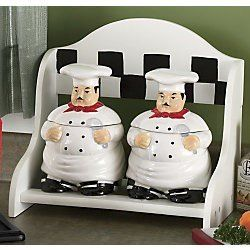 Kitchen decor fat chef 2pcs jar canister set for Fat chef kitchen ideas