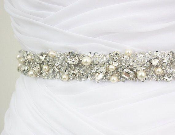 "Best Seller - MONACO II - 1"" Swarovski Pearls And Rhinestones Encrusted Bridal Sash, Wedding Beaded Belt, Crystal Belt on Etsy, $135.00"