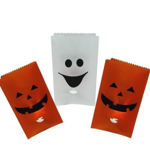 Set of 3 Flickering Light Pumpkin and Ghost Halloween Luminary Pathway Markers