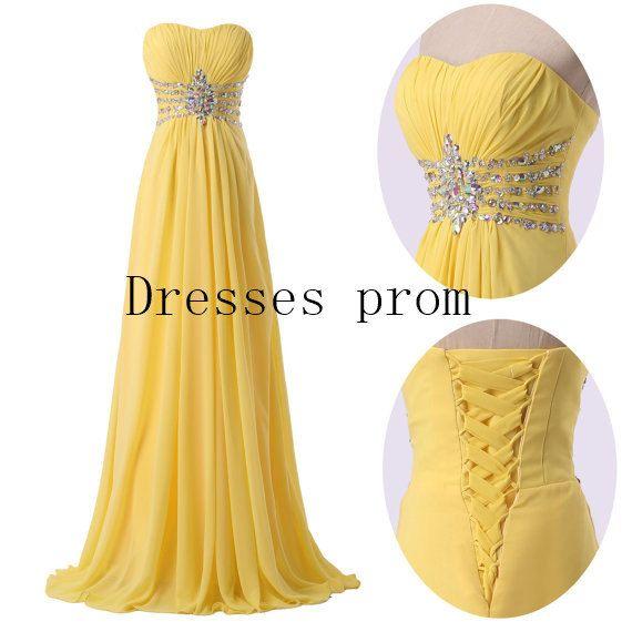 long bridesmaid chiffon Dresses Yellow  prom by Dressesprom, $109.99