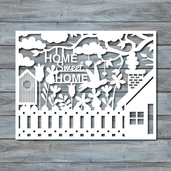 Home Sweet Home Paper cut Template PDF Printable by Zavyanne8
