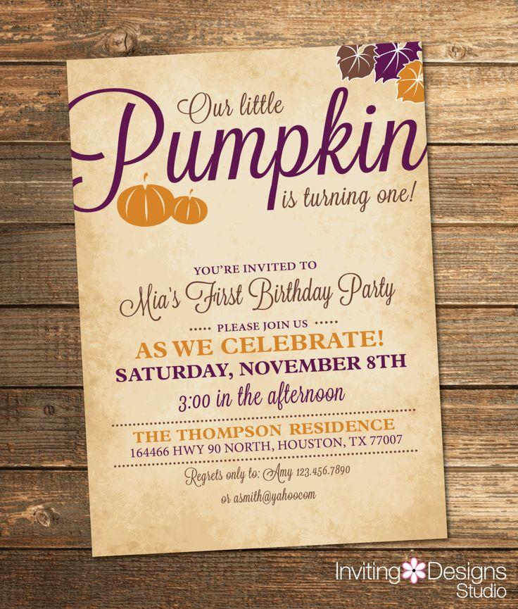 Little Pumpkin Birthday Invitation, Fall Birthday Party, Pumpkin Birthday, Girl First Birthday, Purple, Orange, Girl (PRINTABLE FILE) by InvitingDesignStudio on Etsy