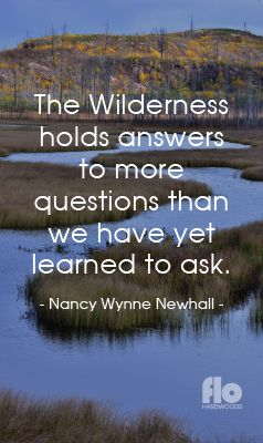 The Wilderness holds answers to more questions than we have yet learned to ask. ~Nancy Wynne Newhall #FLOhardwoods