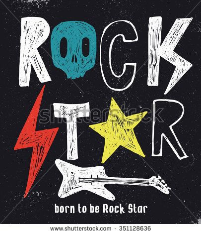 Hand drawn Rock Star typography.