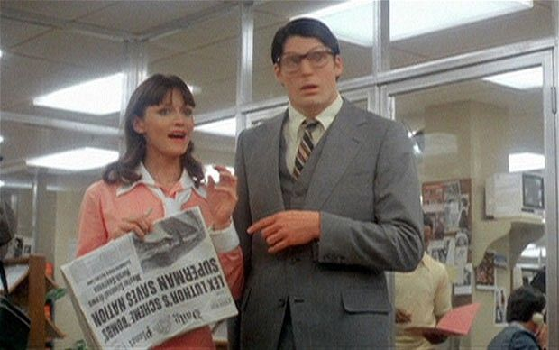 The remarkable Christopher Reeve as Clark Kent with Lois Lane (Margot Kidder)