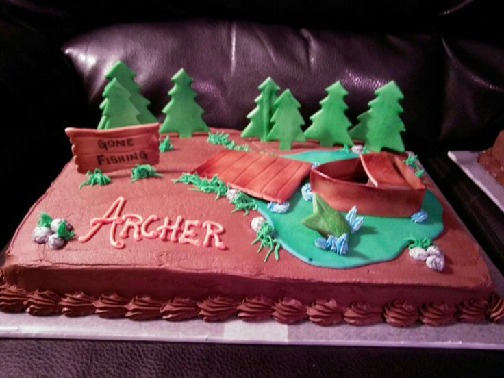 Camping Fishing Sheet Cake Facebook Com Sandyssweetcakes