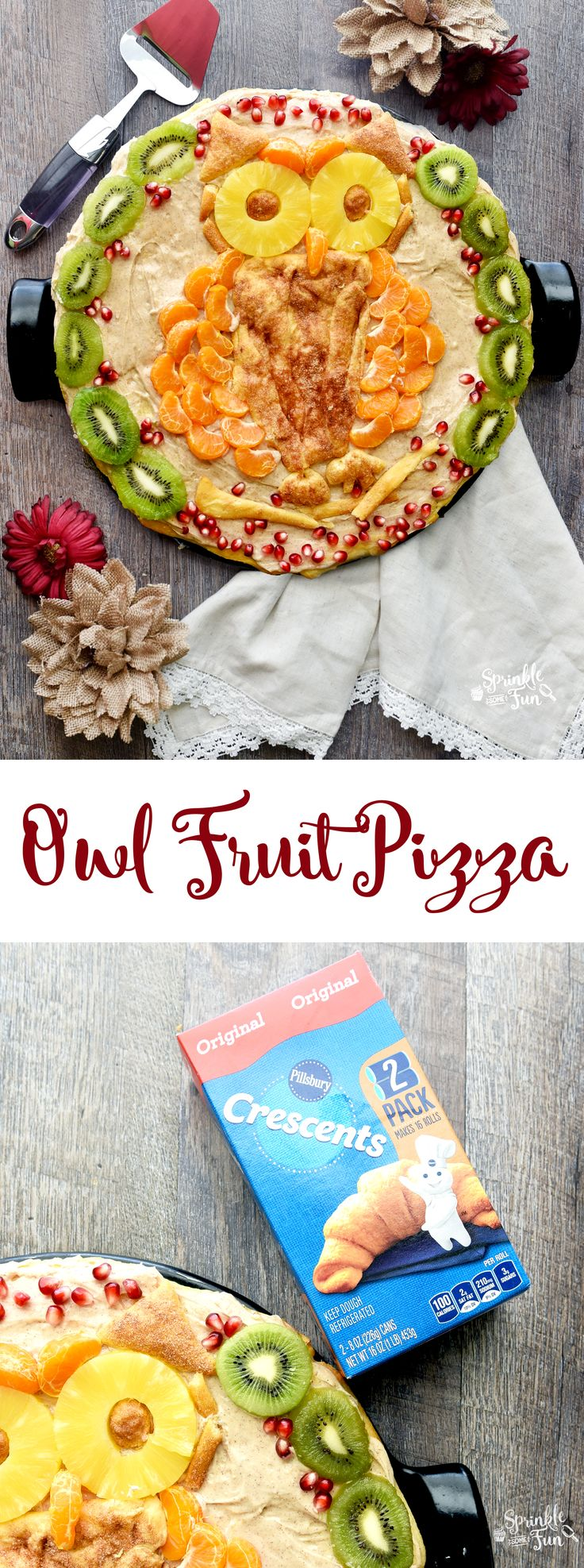 This Owl Fruit Pizza is a fun twist on the classic!  I also added some cinnamon to the mix which will be perfect for fall and winter holidays.  Isn't the owl so cute? @Pillsbury #ItsBakingSeason AD