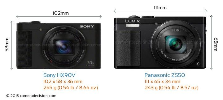 Sony HX90V vs Panasonic ZS50 Camera Size Comparison - Front View