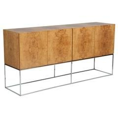 Milo Baughman Book Matched Olivewood Sideboard on Chrome Stand