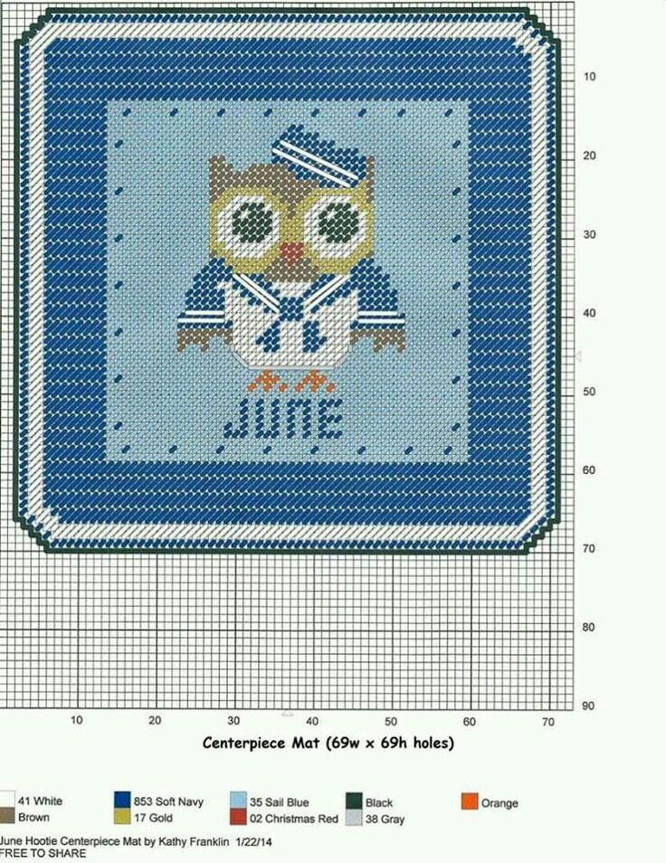 JUNE HOOTIE CENTERPIECE MAT by KATHY FRANKLIN