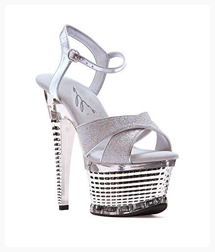 Ellie zapatos mujer's 649-Disco Platform Sandal, plata, 8 M US