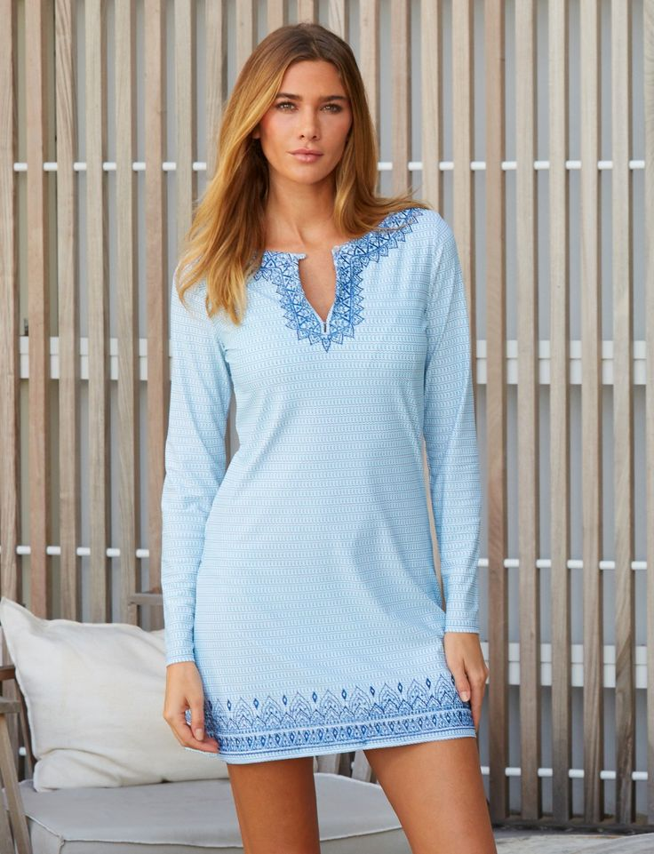"UPF Clothing | Embroidered shift dress in ""Bali Seas"" by Cabana Life"