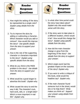Reading response bookmarks for use with any fiction book.  Great for independent, pair or group activities.  Questions are rigorous and require stu...