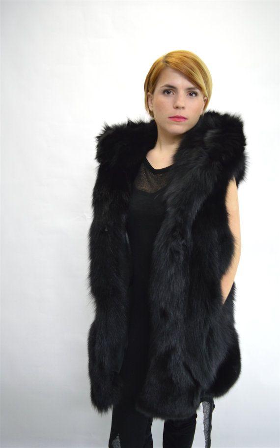 Real black fox half skin fur hooded vest real fox fur by BeFur