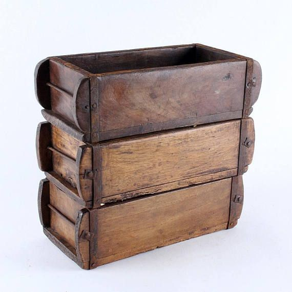 Vintage Naturally Agedrustic Wooden Brick Mould Small Storage Box