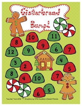 """FREE Gingerbread Bump!  Addition Game (C brought this home as her """"homework"""" for the week and she loves this game!)"""
