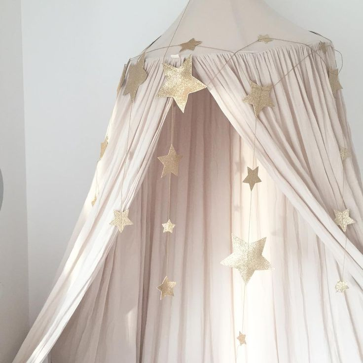 Powder and shimmering stars... Numero74 Powder Canopy and Gold Falling Star Garland.